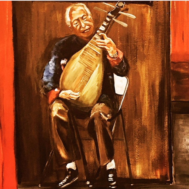 To accompany the singer, I added the pipa player on the stage. I enjoyed the process of painting him and the instrument on a Sunday afternoon.