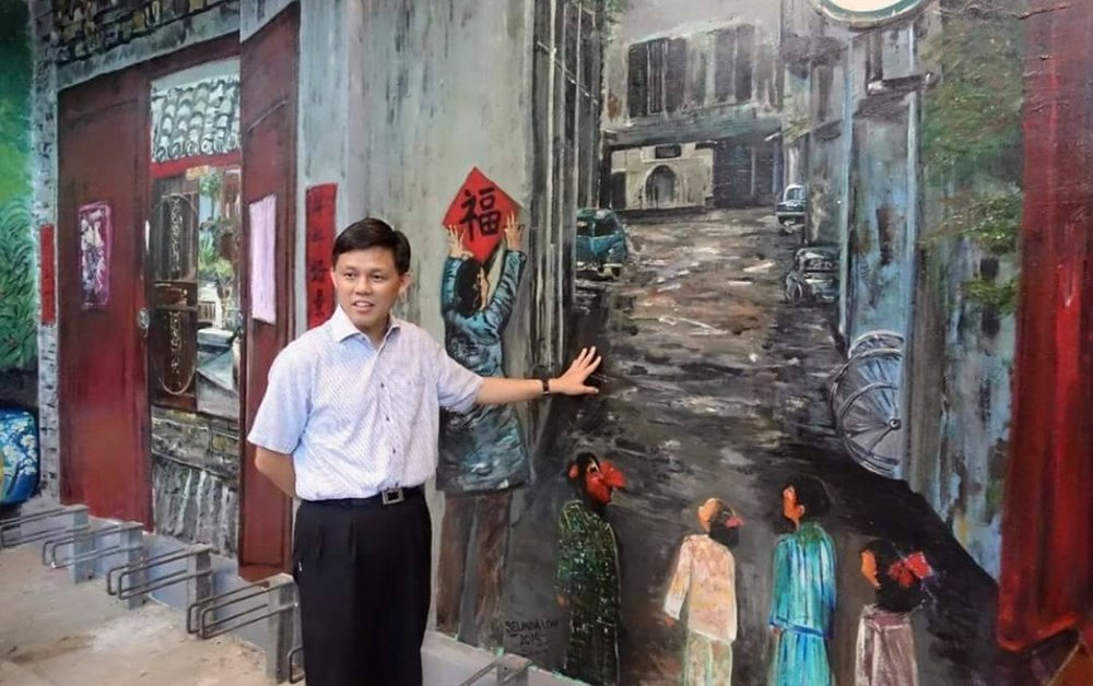 After the completion of this wall, at the end of the project when Mr Chan Chun Sing graced the occasion that he talked and asked if I would like to do Holland V. This particular wall has a significant meaning in that it was Cheong Wan Seng Lane -FIFTY YEARS AGO. It is a secondary road off Cross Street which is the main road right at where PwC was. I so happened to see this image and it was like it was meant to be painted on this wall. This is now the lane where we walked diagonal over to the other side towards Republic Plaza (now known as GCH Equities Bldg) to take the EW train.
