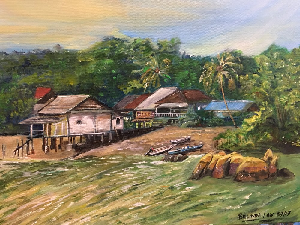 "UBIN My Love - 20"" x 16"" acrylic on canvas.  This one depicts the view as you approach the island from the bumboat. The attap houses land a charm and beauty to the place and gives a very kampong and rustic feel..."