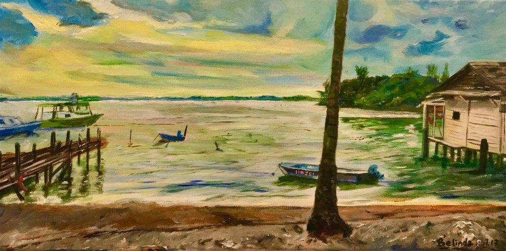 "The Living Fisher Village - 20""x 16"" acrylic on canvas.  Ubin is the last known living fisher village there is in urbanised Singapore and it's time to do something about preserving this island and hope it won't give way to modernisation...Restoration is more the word...Long Live Ubin!"