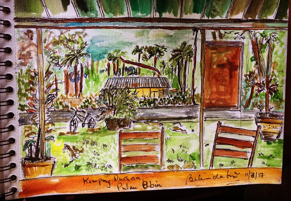 My very first sketch when I visited Ubin - from inside looking out from a home that serves cold drinks in Kampong Durian.