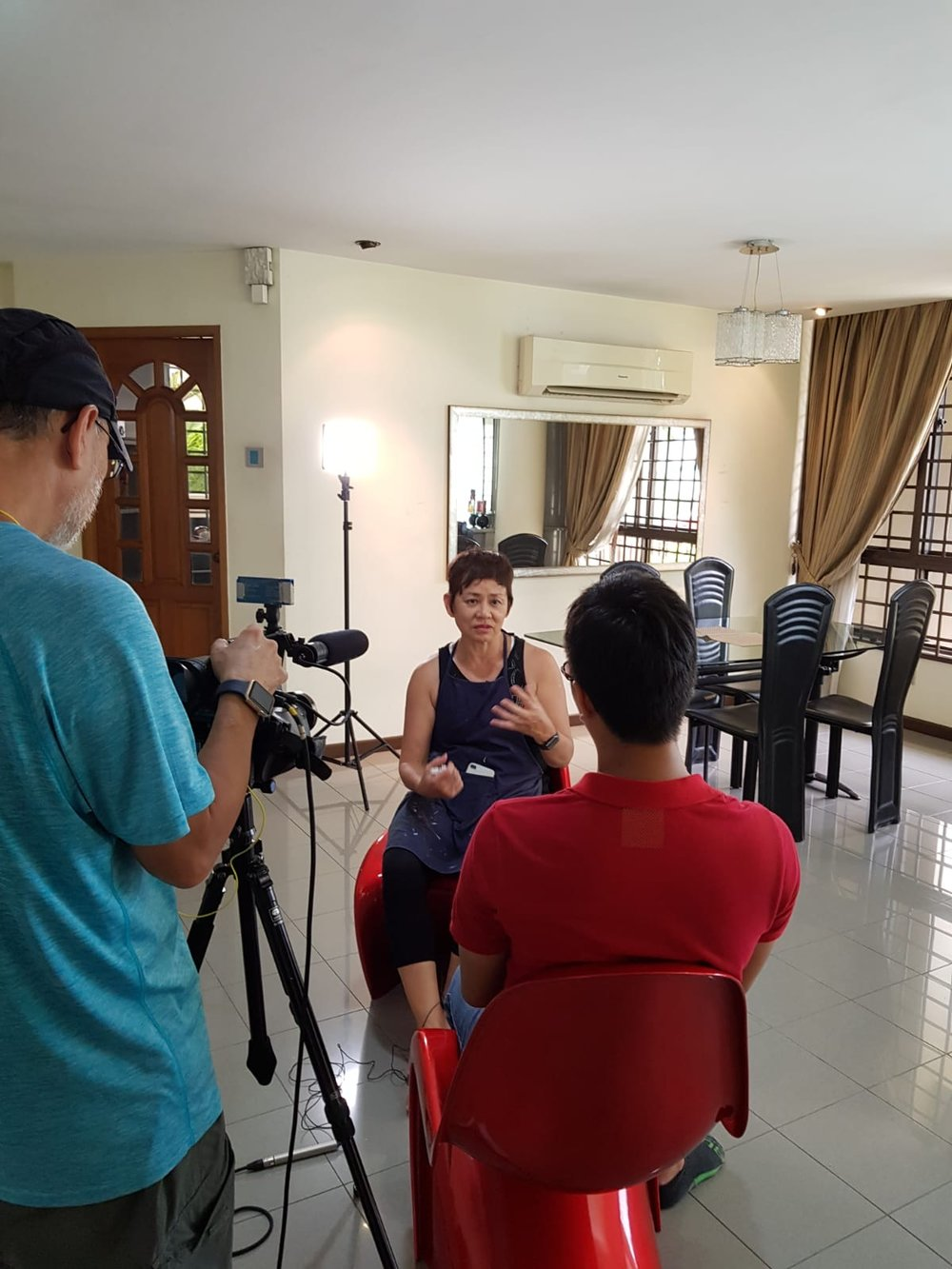 interview indoors during lunch break. The entire video and interview will be screened on Channel 8 soon...