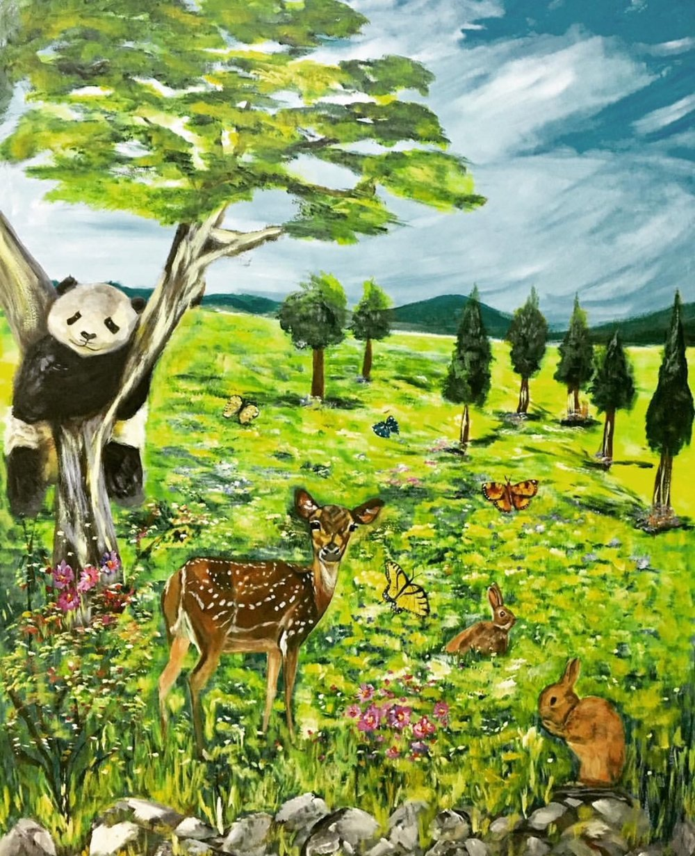 At the other opposite wall facing the first one, I added different animals of which I find the panda is quite cute and endearing and much liked by children.