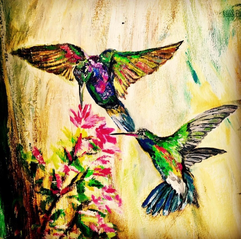 Hummingbirds are colourful and lively and just love their vibrant colours.