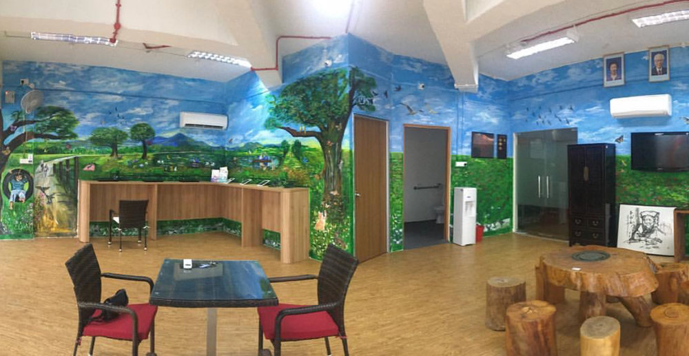 An overview / pano view of the room which shows up to the second last wall. A request was made to paint the sky for the entire ceiling as well but that didn't materialise due to time constraint.