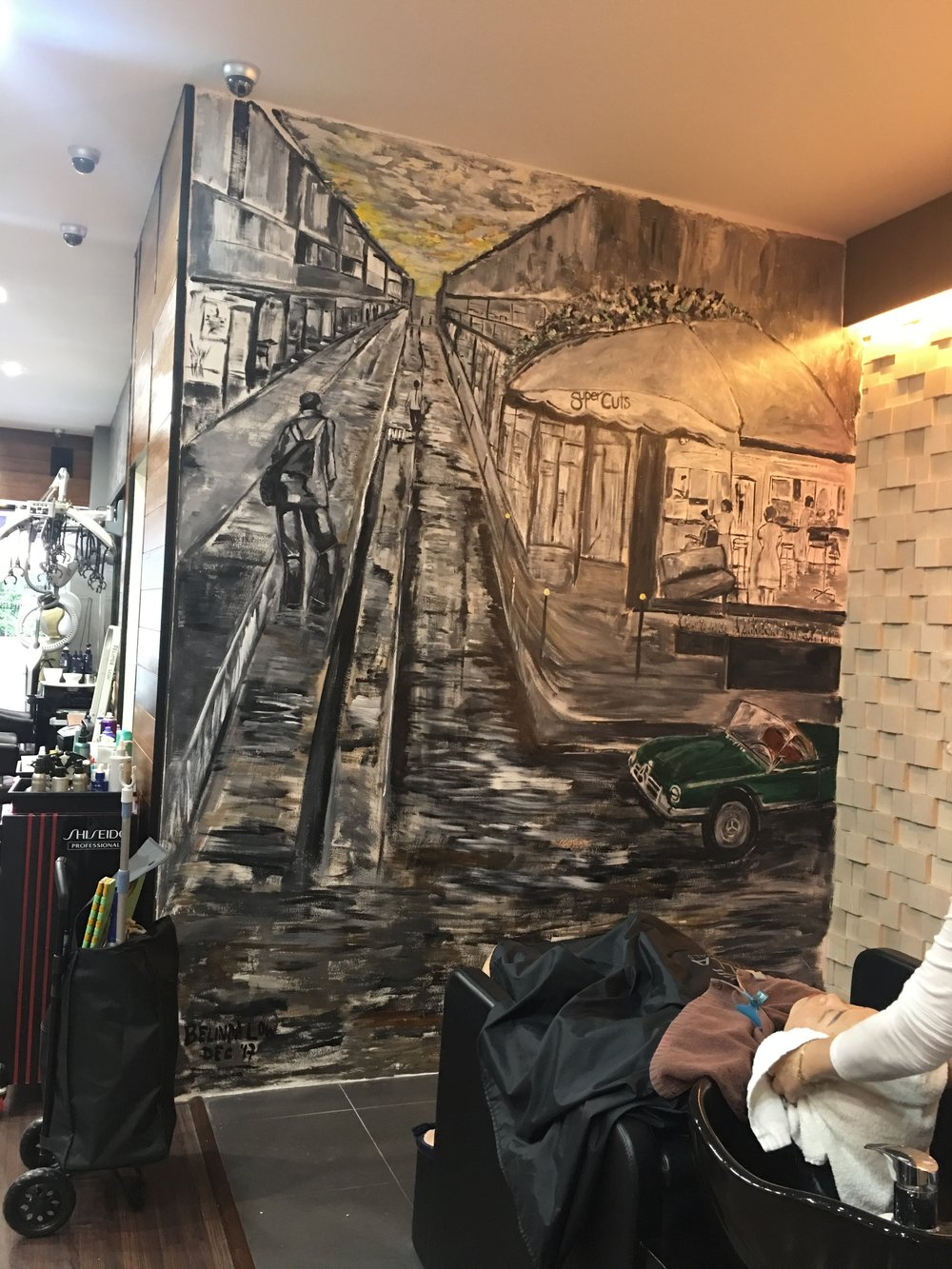 After - at the washing area. Hopefully the customers can stare and admire the details on the wall while having their hair washed.