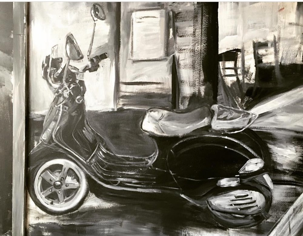 Right at the entrance is this Vespa scooter that was reminiscent of the '60s and '70s. I thought it befitting that this should be included as the look and feel was quite retro given that the color is in black and white with a tinge of yellow as requested by the client.
