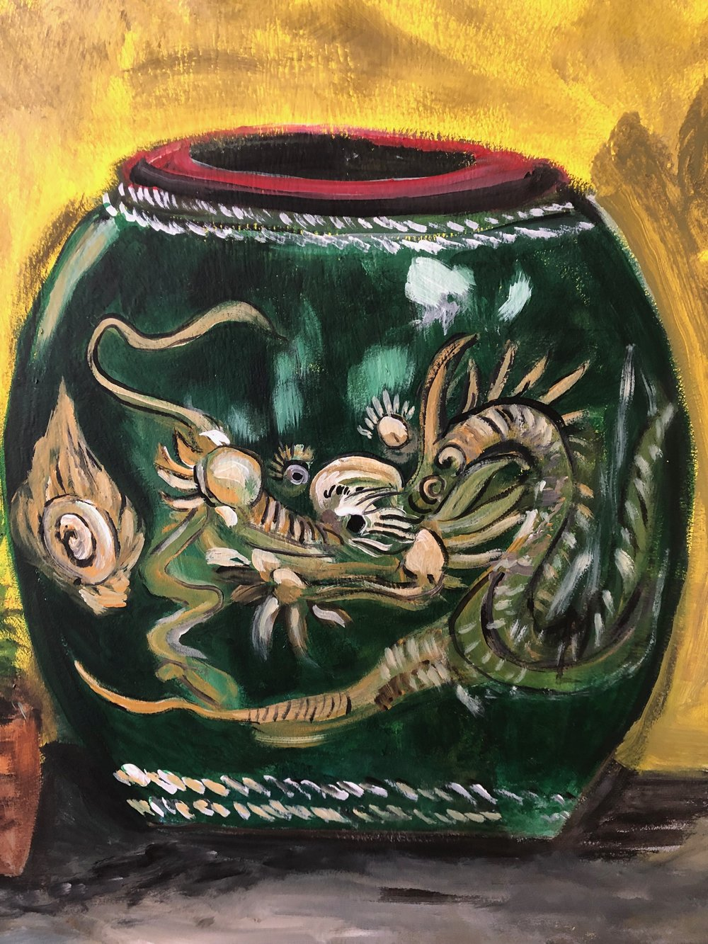 These large urns can still be seen today. Mostly from China and they come with either the dragon, phoenix or both.