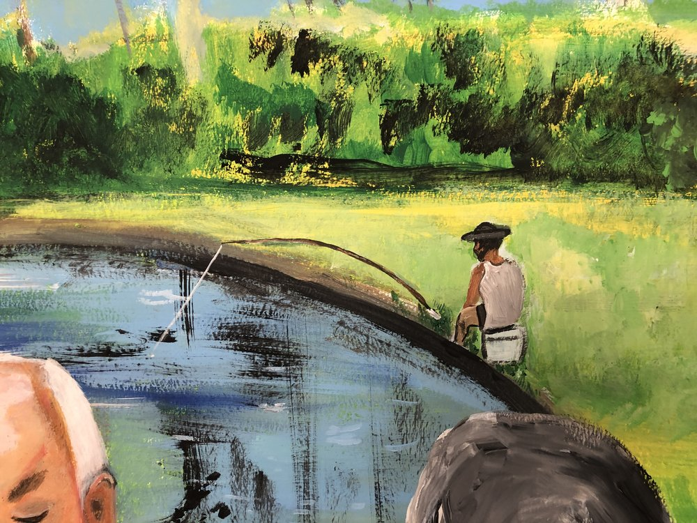 Since it is a pond, I decided to add a fisherman and a lone one at that…evoking a picture of serenity and calm all by himself..That's how they spent their time chilling away by the pond those days…