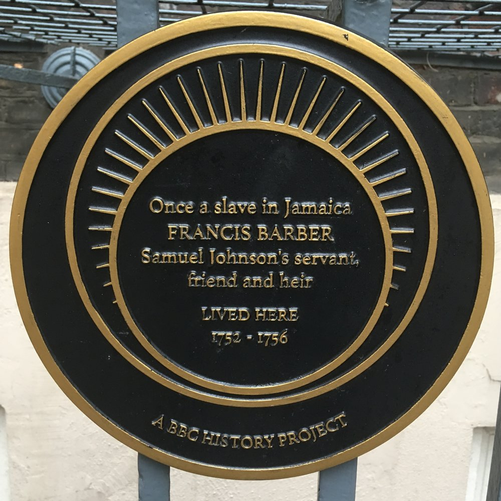Johnson's friendship with his black manservant is vividly described in the house, and recognised by this plaque outside
