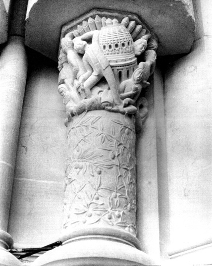 """Capital and Column (Solomon), Indiana Limstone, 40"""" x 24"""" dia., West Front, Cathedral St. John The Divine, NYC, 1990"""