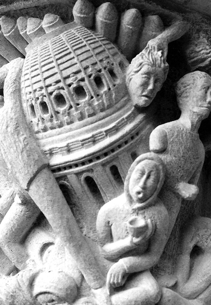 """Detail: Capital and Column (Solomon), Indiana Limstone, 40"""" x 24"""" dia., West Front, Cathedral St. John The Divine, NYC, 1990"""