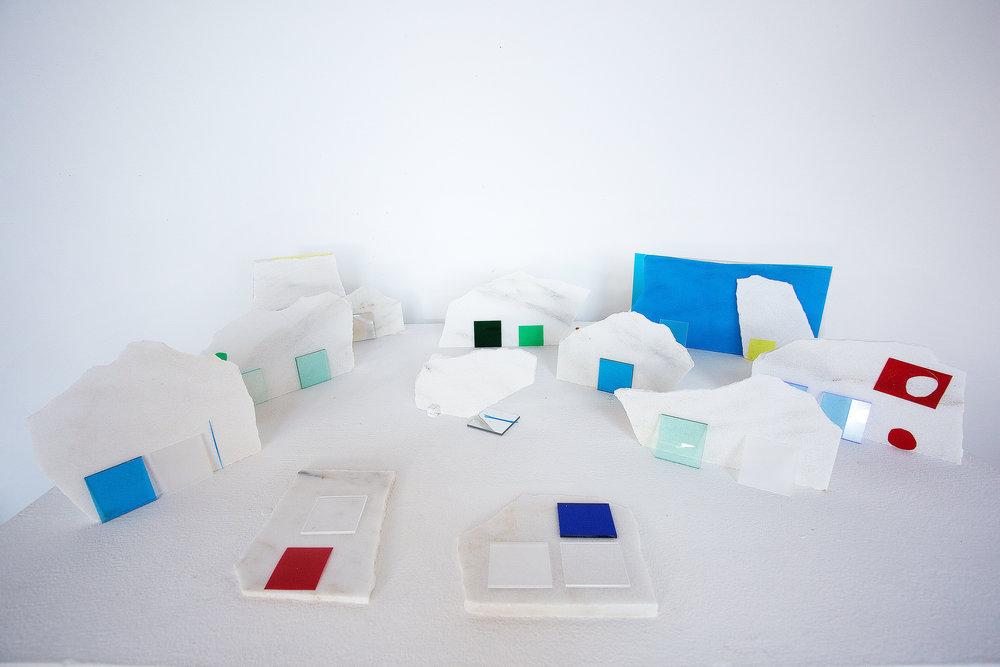 "Landscape II, Danby Marble, Plexiglass and Foil, 42"" 30"" x 8"", 2016"