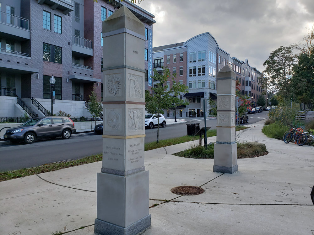 "The Gateway Totem Project , Indiana Limestone, various marble and granite, 2 x 10' x 30"" x 30"", Morristown, NJ, 2016"