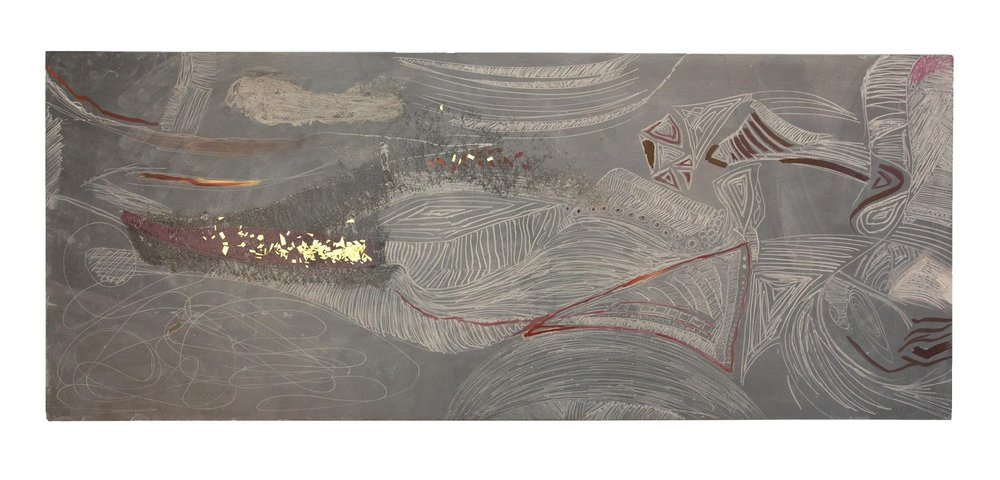 "Map #1 , Brass, ink, and rubbing glaze on black slate, 50 x 24 x 1"", 2015"