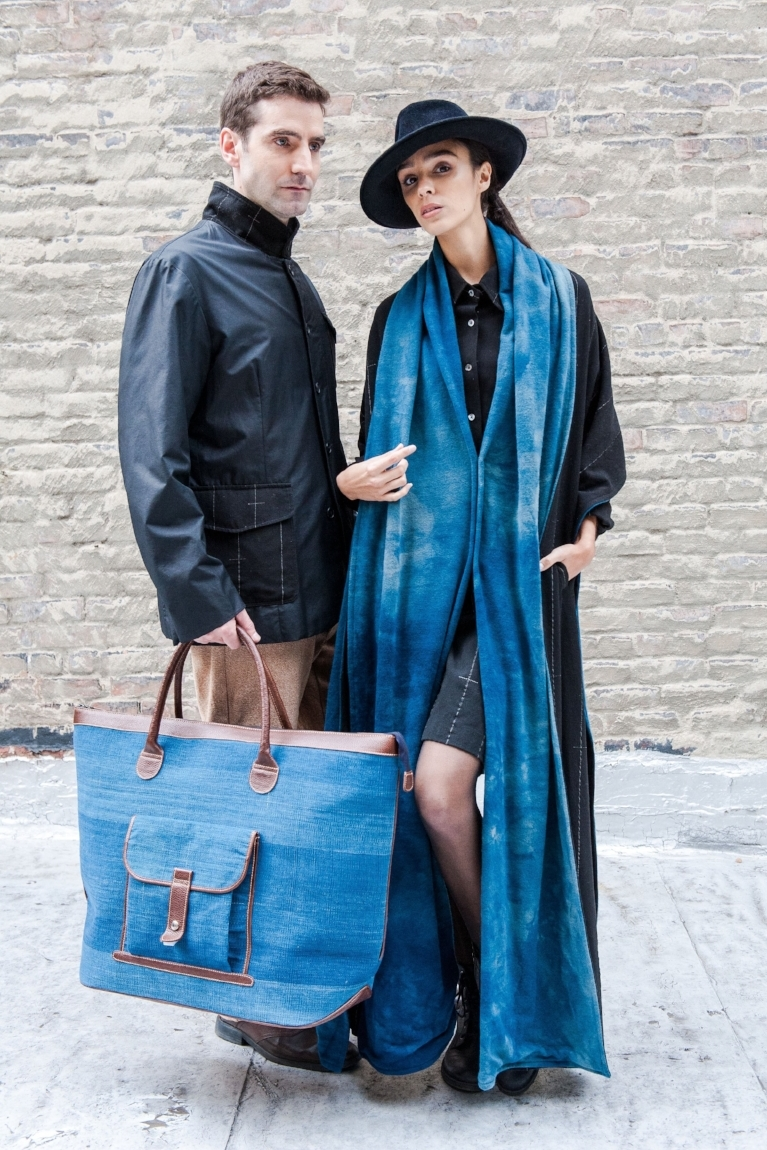 Left: Social Fabric Jacket in Black & Weekender Bag in Indigo.  Right: Work Dress in Black & St.Martin Shawl in Indigo.