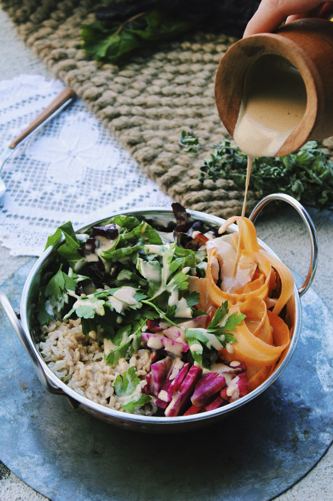 "Harvest ""glory"" bowl + earthy tahini dressing"