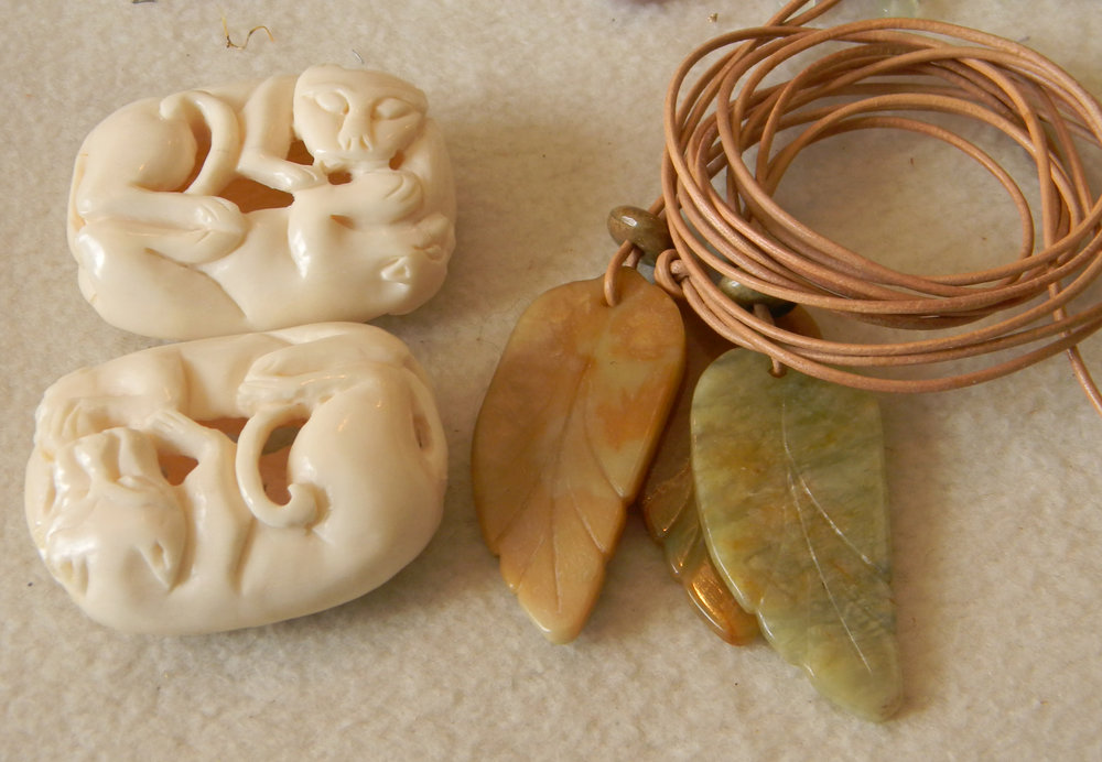 Carved Bone Belt Buckle & Serpentine Leaves