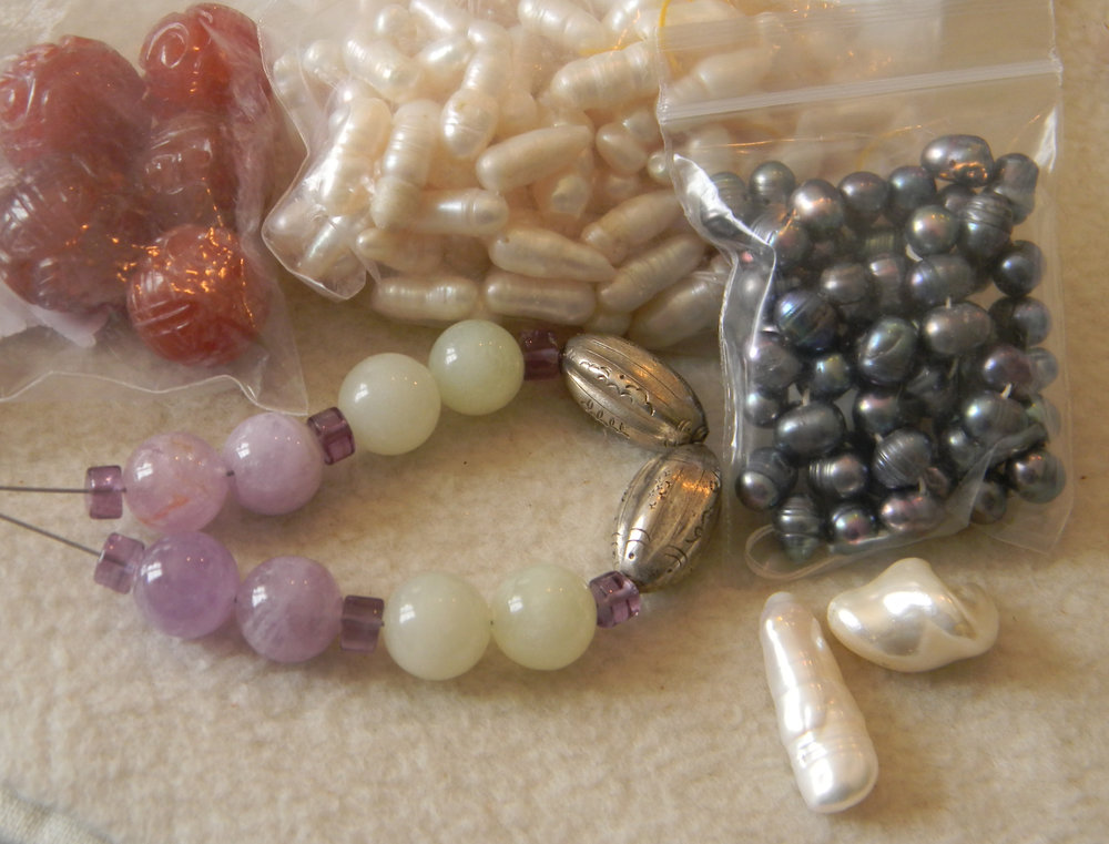 Baroque Pearls, Jade Beads & Amethyst with Vintage Chinese Silver Beads & Agate