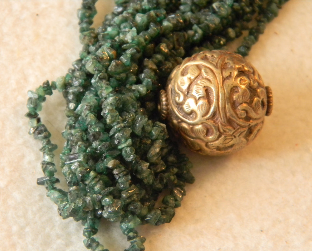 Emerald Chips & Tibetan Brass Bead