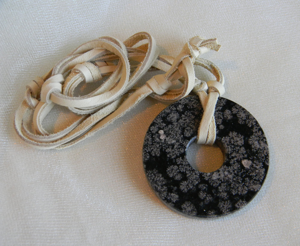 Round Black Fossilized Coral Donut
