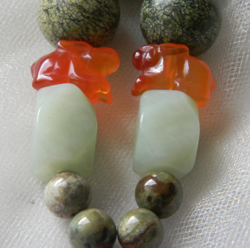 Opal, Celadon Jade, Carved Carnelian & Russian serpentin Beads