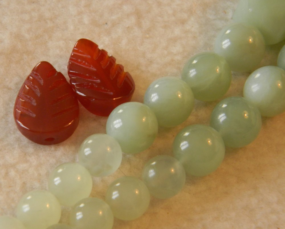 Celadon Jade Beads & Carnelian Spacers