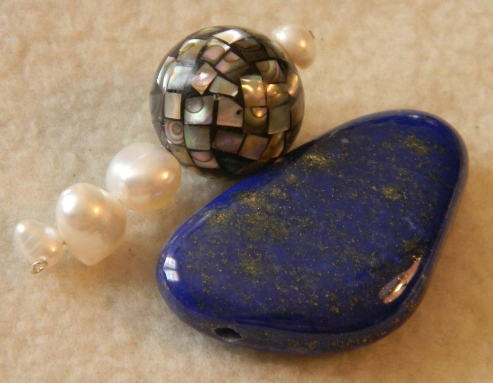 Lapis,Pearls & Abalone Bead