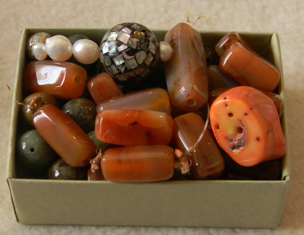 Variety Agate, Abaloni Charm & Coral