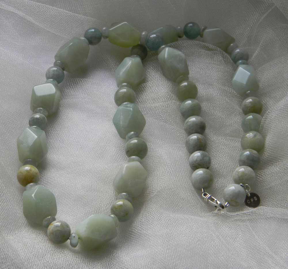 Faceted celadon jade beads with aquamarine beads