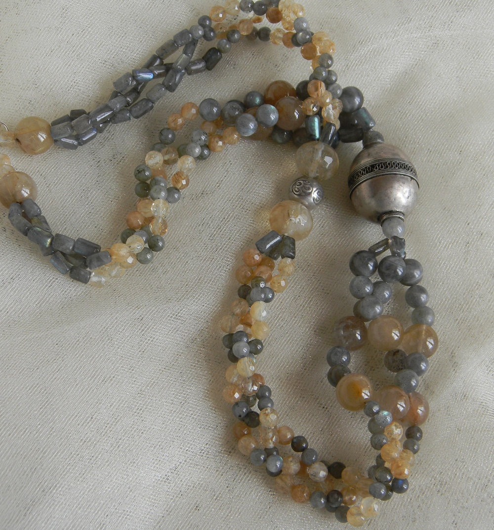 Labradorite & quartz beads necklace with vintage European silver