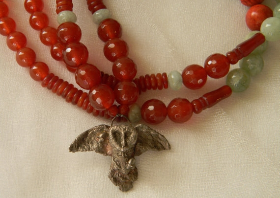 Sterling silver flying owl & carnelian necklace