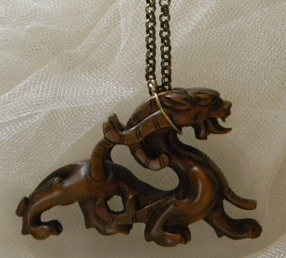 Dragon Netsuke on antiqued brass necklace