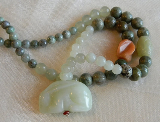 Jade rabbit pendant with jade& opal beads necklace