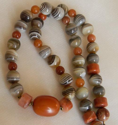 Tibetan amber bead pendant with Botswana agate beads necklace
