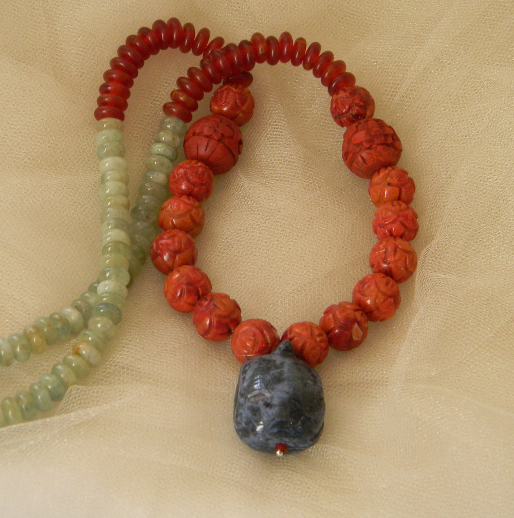 Turtle pendant w coral & cinnabar beads necklace