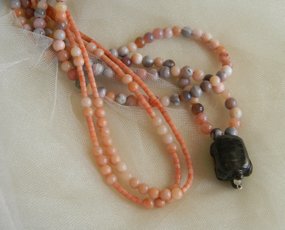 Jade turtle pendant w angel skin coral & Botswana agate beads necklace