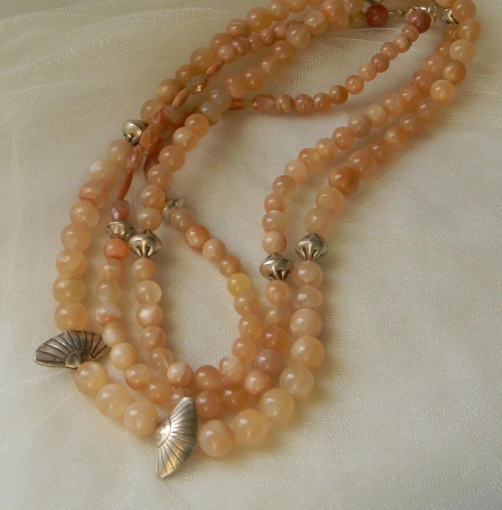 Sunstone beads necklace w Thai silver beads