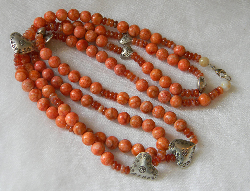 Coral beads necklace w Thai silver heart beads