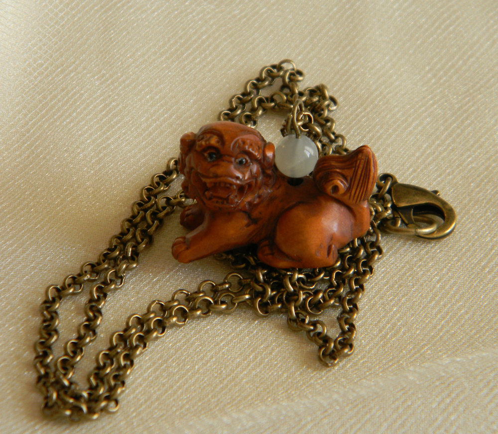 Fu Dog Netsuke protection talisman Shishi pendant on brass chain necklace