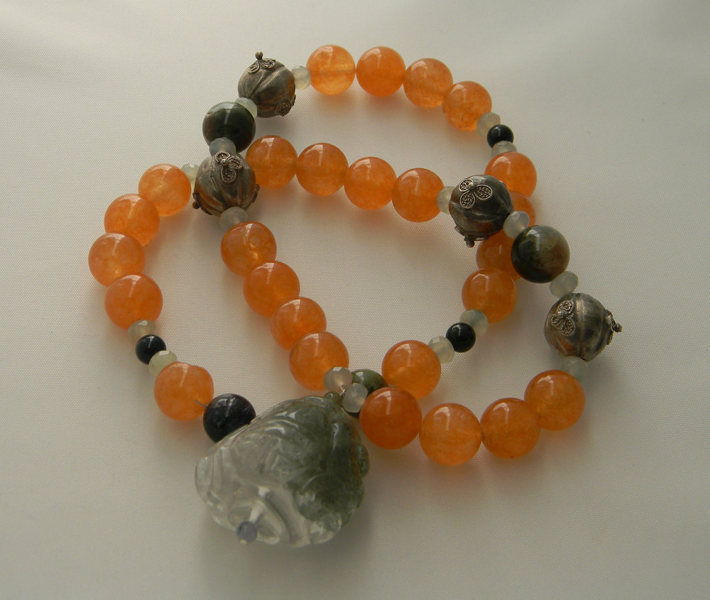 SOLD - Smoky quartz pendant on carnelian beads & moss agate beads necklace