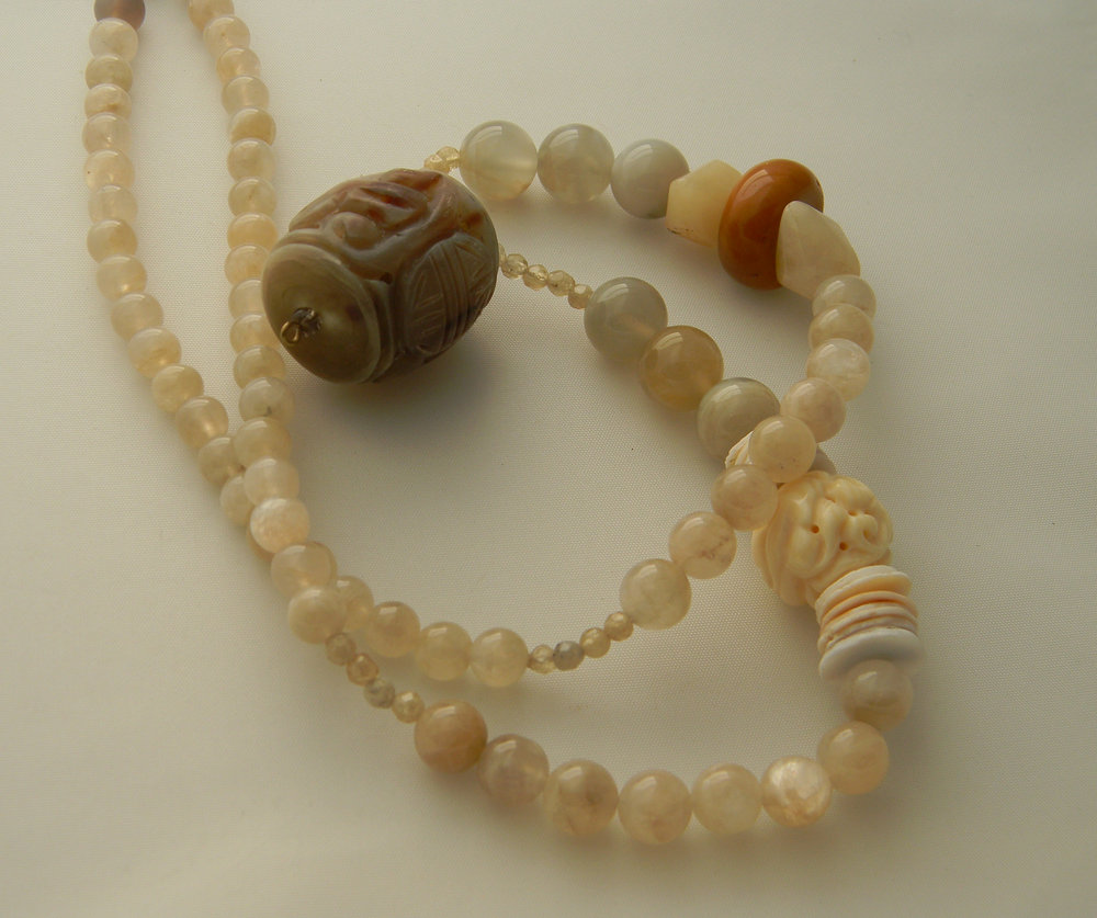 NEW: Carved antler pendant on moonstone beads necklace ,