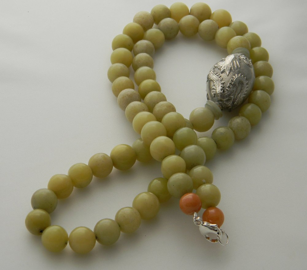 Vintage silver dragon bead on vintage green jade beads necklace