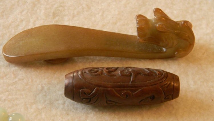 Carved Wood Charm & Carved Jade Buckle