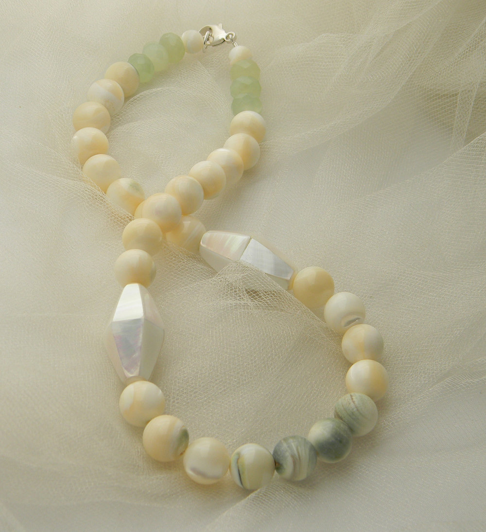 SOLD -  Mother of pearl beads & large bead charms necklace , top quality blue green inclusion beads