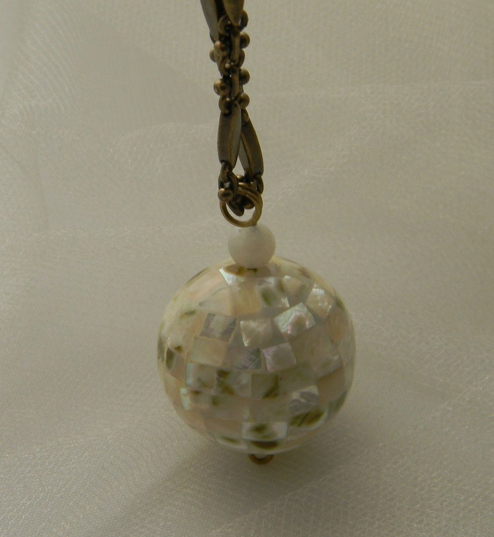 Abalone shell mosaic ball on designer select brass chain necklace