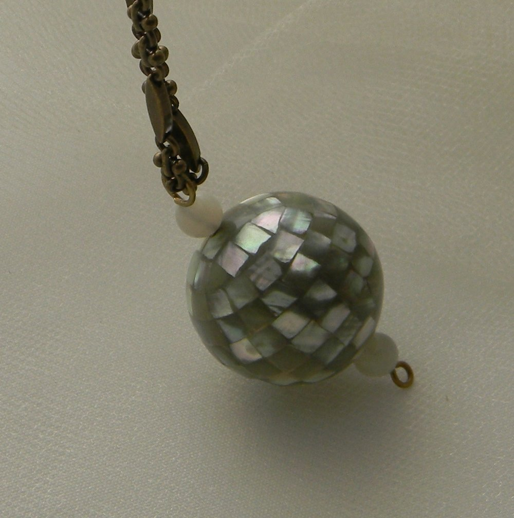 Abalone shell mosaic ball on designer select brass chain necklace ,