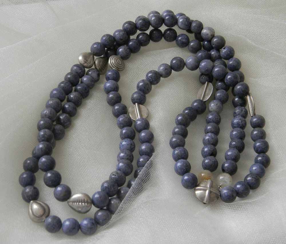 ⭐⭐⭐⭐⭐ Blue Coral Beads And Thai Silver Charms
