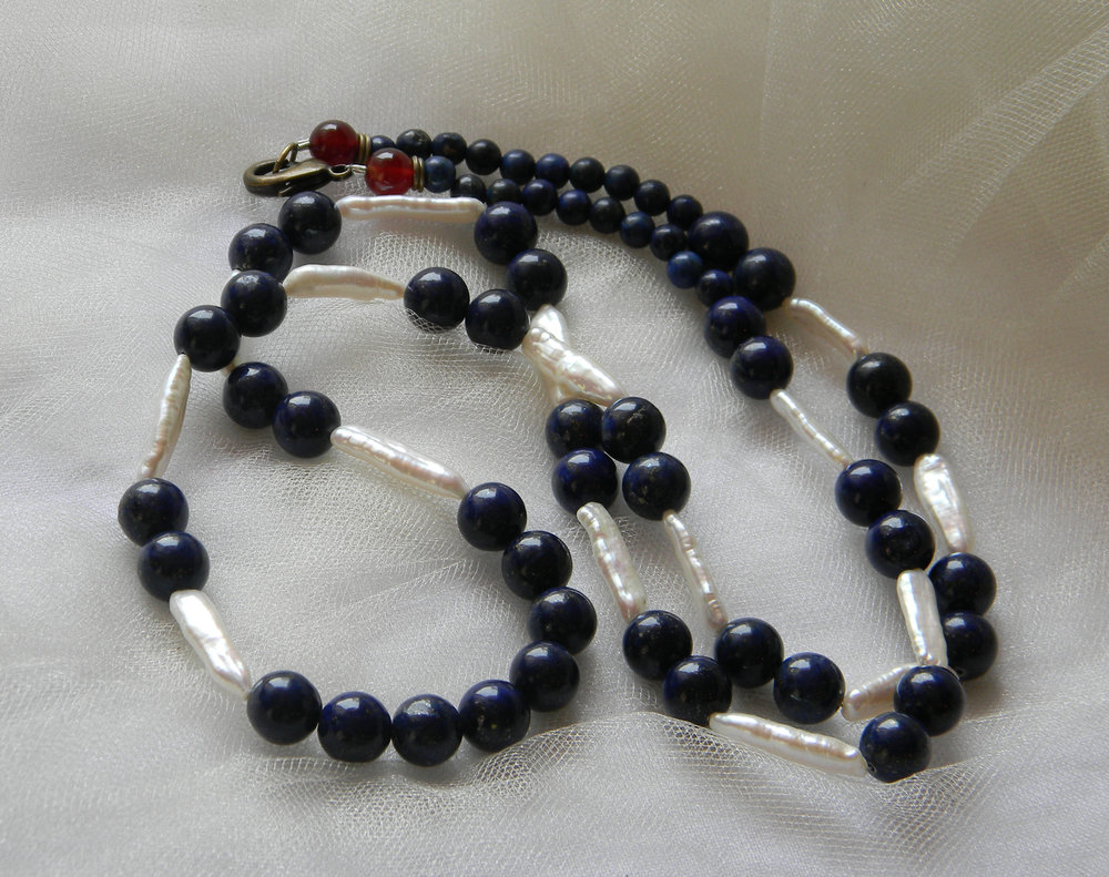 ⭐⭐⭐⭐⭐ Lapis Lazuli with Cultured Pearls