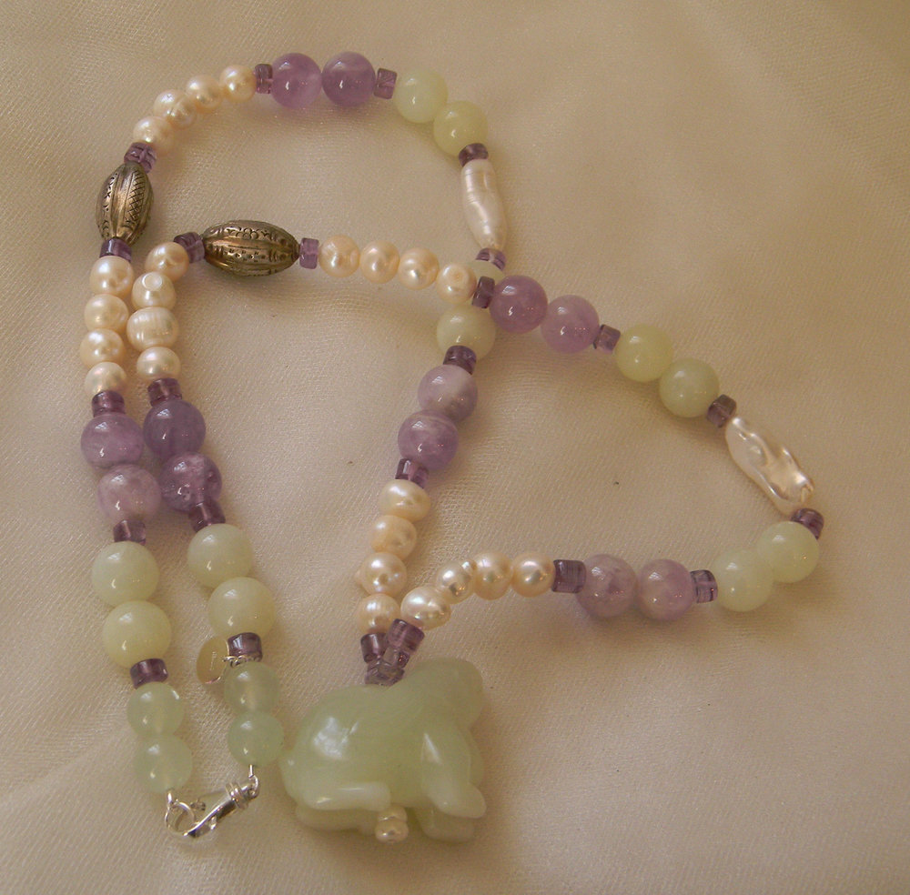 ⭐⭐⭐⭐⭐ Bunny rabbit amethyst bead pendant w baroque pearls & amethyst necklace , beaded jewelry , rabbit fertility amulet , moonstone bead jewelry	 Bunny rabbit amethyst bead
